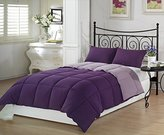 Chezmoi Collection 3-Piece Purple Lilac Super Soft Goose Down Alternative Reversible Comforter Set, Queen/Full Size
