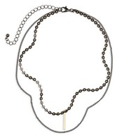 BP Women's Layered Bar Charm Necklace