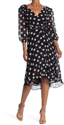 Gabby Skye Polka Dot Faux Wrap Chiffon Midi Dress