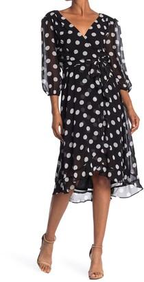 Gabby Skye Polka Dot Faux Wrap Chiffon Midi Dress