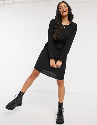 JDY mini dress with waist tie in black