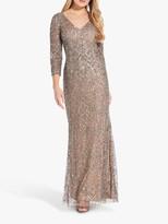 Adrianna Papell Metallic Maxi Dress, Mercury/Nude