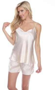 White Mark Satin Cami and Shorts Pajama Set