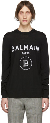 Balmain Black and White Logo Crewneck Sweater