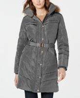 Michael Kors Michael Belted Faux-Fur-Trim Down Puffer Coat, Created for Macy's