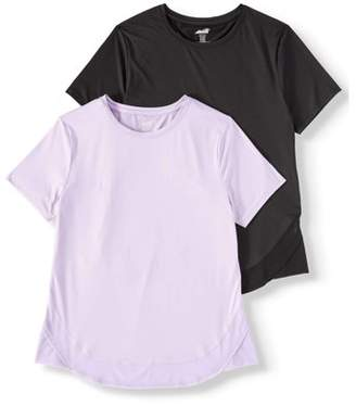 Avia Women's Active Performance Short Sleeve Crewneck T-Shirt 2 Pack Bundle