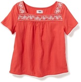 Old Navy Embroidered Square-Neck Top for Girls