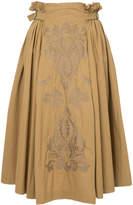 Ne Quittez Pas embroidered front paper bag skirt