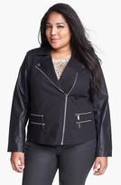 MICHAEL Michael Kors Knit & Faux Leather Moto Jacket (Plus Size)