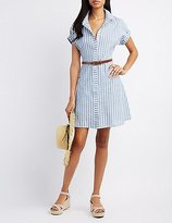 Charlotte Russe Striped Belted Shirt Dress