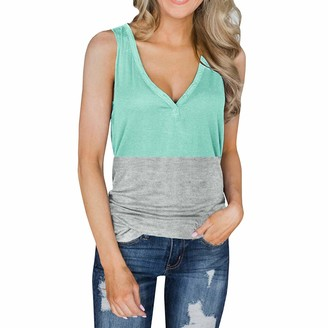 HEREEQ Women's V Neck Tank Tops Sleeveless Henley Shirts Button Up Long Tunic Tees Green XXL