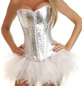 Grebrafan Faux Leather Sequin Showgirl Corset with Separate Tutu Skirt (US(12-14)2XL, )