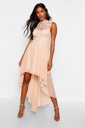boohoo Boutique Lace & Chiffon Dip Hem Bridesmaid Dress