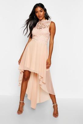 boohoo Boutique Lace Top Chiffon Dip Hem Dress