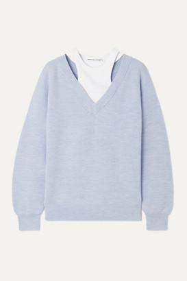 Alexander Wang Layered Merino Wool And Stretch Cotton-jersey Sweater - Sky blue
