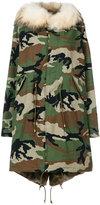Furs66 - camouflage parka coat - women - Cotton/Leather/Rabbit Fur/Racoon Fur - 40