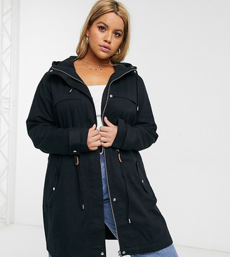 Junarose lightweight hoodied parka in black