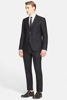 John Varvatos Collection Austin Black Two Button Notch Lapel Wool Trim Fit Stretch Suit