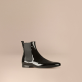 Burberry Patent Leather Chelsea Boots