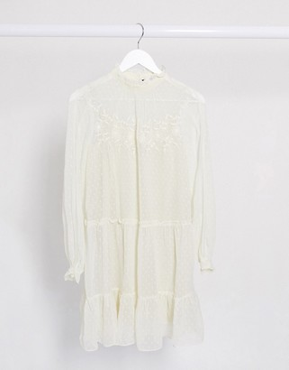 Vero Moda dobby mesh mini smock dress with embroidery in cream
