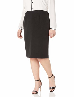 Kasper Women's Plus Size Stretch Crepe Skimmer Skirt Black 16W