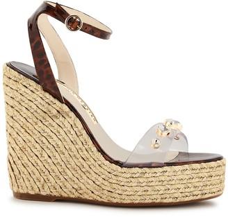 Sophia Webster Dina 140 crystal-embellished leather wedge sandals