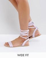 Asos FIONA Wide Fit Tie Leg Flat Sandals