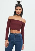 Missguided Burgundy Ribbed Bardot Long Sleeved Crop Top