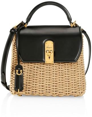 Salvatore Ferragamo Medium Boxyz Leather-Trimmed Straw Top Handle Bag