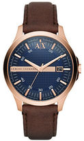 Armani Exchange Hampton Stainless Steel and Leather Strap Watch, AX2172