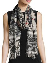 Burberry Check & Floral Gauze Scarf, Blue-Gray