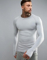 SikSilk Compression Long Sleeve T-Shirt In Gray