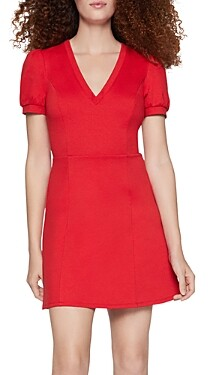 BCBGeneration Puff-Sleeve Fit-and-Flare Dress