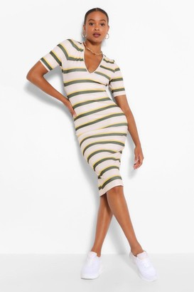 boohoo V Neck Striped Bodycon Midi Dress