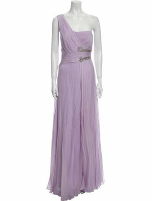 Marchesa Notte Silk Long Dress Purple