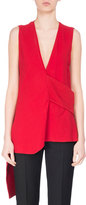 Victoria Beckham Sleeveless Asymmetric Crepe Blouse, Red