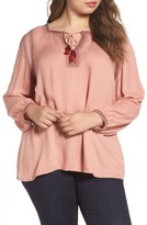Lucky Brand Plus Size Women's Embroidered Boho Blouse