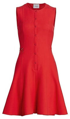 Akris Punto Sleeveless Pique Button-Front A-line Dress
