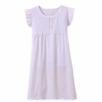 Allmeingeld Little Girls' Princess Nighties Heart-Shaped Pattern Nightgowns Fantasy Nightie White 4t