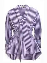 Teija Eilola Navy, Red & White Striped Blouse with Tie-Neck