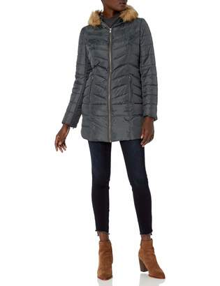 Hawke & Co Women's Mid Length Down Coat with Faux Fur Trim