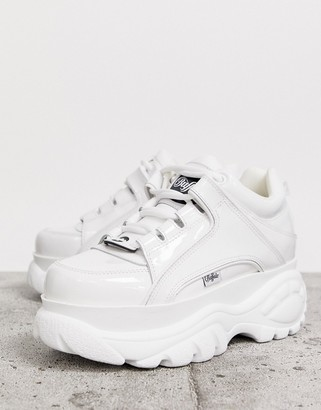 Buffalo David Bitton London classic lowtop trainers in white patent