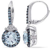 Concerto 0.1TCW Diamond and Blue Topaz Sterling Silver Drop Earrings