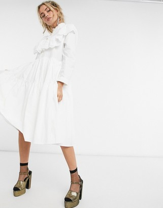 Sister Jane midi shirt dress with tiered skirt and broderie collar in cotton