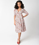 Unique Vintage White & Watermelon Three-Quarter Sleeve Kelsie Wrap Dress