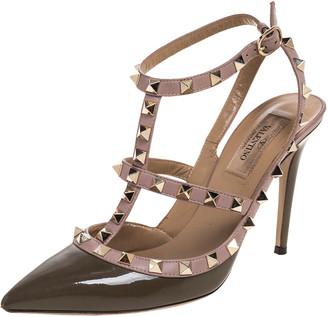 Valentino Khaki Green Patent Leather Rockstud Ankle Strap Sandals Size 37