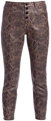 J Brand Lillie High-Rise Coated Snakeskin-Print Crop Skinny Jeans