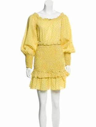 Alexis Polka Dot Print Mini Dress w/ Tags Yellow