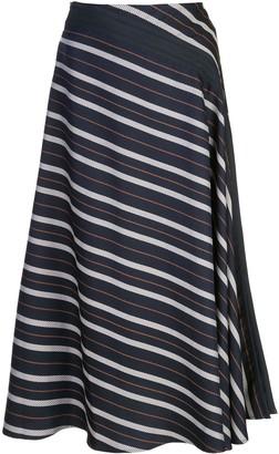 Palmer Harding Diagonal Striped Midi Skirt