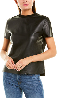 Nicole Miller Artelier Leather T-Shirt